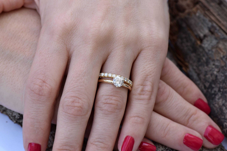 Cluster Wedding Ring Set Diamond Wedding Set 1.50 Carat Solitaire Diamond  Engagement Wedding Sets Promise Ring Art Deco Wedding Ring Set