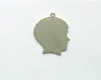 Sterling Silver 25mm Engravable Boys Head Charm