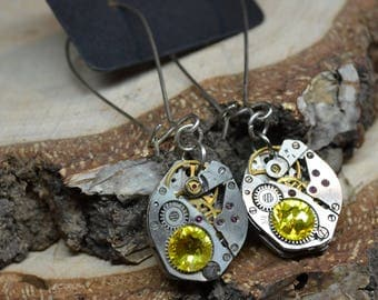 Sun steampunk earrings steampunk with yellow Swarovski Crystals