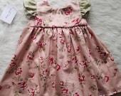 SALE! Pink Floral Dress, vintage baby dress, rose baby dress, vintage floral dress, handmade dress, pink baby dress, floral baby dress