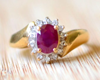0.80 Carat Ruby and Diamond Ring - Engagement Ring, July Birthstone, Vintage Ring, Estate Jewelry, Size 6 Ring, Vintage Ruby Ring
