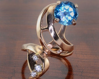 Blue Topaz and Diamond Ring - Free Form Ring, Elongated Ring, Blue Topaz Ring, Diamond Ring, Size 6, Vintage Blue Topaz Ring