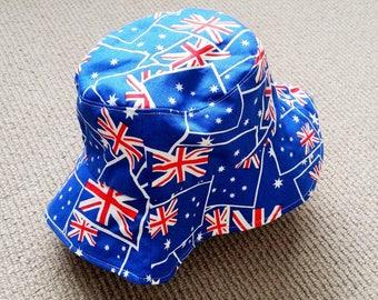 Toddler/ Kids Reversible Bucket Hat - Australian Flags/ Kangaroos