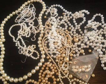 Pearls pearls pearls! What you see is what you get! Some new,some vintage.  A pile of pearls for the crafter, artist or jewelry maker