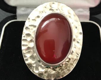 Vintage Sterling Silver Mexican Modernistic Statement Ring With Red Carnelian Stone