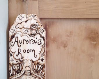 Personalised Door Sign, Woodland Animals Bedroom Door Hanger, Unique Pyrography Art, Woodburning Original Illustrated Name, Children's Gift.