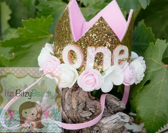 First Birthday Crown - Flower Crown - Birthday Crown - One - Girls Pink Gold Glitter Crown - Number Party Hat - - Cake Smash