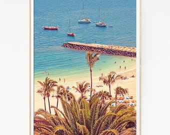 Printable Beach Wall Decor Print Poster Tropical Palm Trees Sand Marine Retro Vintage Colour Photo Nature Sea Blue Sky Leaf Sun Boat 1029