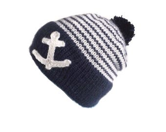 Knit Anchor hat, Anchor hat, Nautical hat, Blue striped anchor hat, School spirit hat, School pride hat, Crochet anchor hat