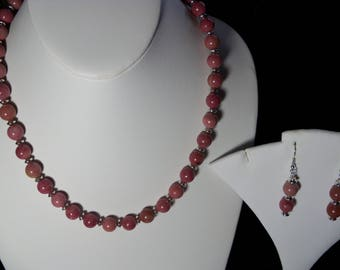 A Lovely Rhodochrosite  Necklace and Earrings. (2017178)
