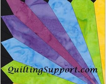 HC Rainbow Fan 15 Inch Block Paper Template Quilting Block Pattern PDF