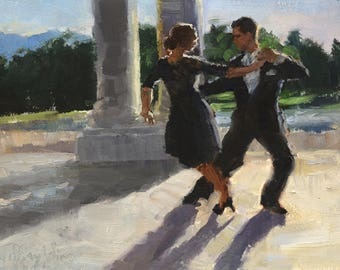 Small Tango in the Park Original Oil Painting, Framed