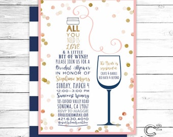 Love & A Little Bit of Wine Bridal Shower Invitation