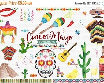 80% OFF - LIMITED TIME - Cinco de Mayo Cliparts Watercolor, Mexico Clip Art Mexican - Tequila Pinata, Maracas, Skull Graphics - Personal & C