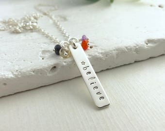Believe necklace, silver bar necklace, hand stamped necklace, believe charm necklace, affirmation necklace