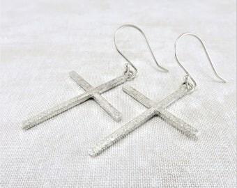 Silver Earrings ~ Christian Earrings ~ Dangle Earrings ~ Cross Earrings ~ Religious Earrings ~ Minimalist Earrings ~ Sterling Earrings