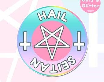 Hail Seitan, Pastel Goth, Vegan Holographic Sticker