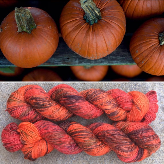 Pumpkin Sparkle, speckled Halloween indie dyed merino nylon sock yarn with bronze stellina