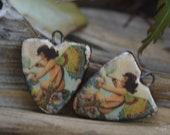 Butterfly Fairy-  Handmade Porcelain Picture Bead Pair