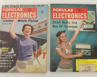 Popular Electronics Magazines, May 1957, Volume 6, No. 5 and July 1957, Volume 7, No. 1, Set of 2, Vintage Electronics Magazines