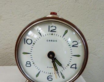 Vintage 1960 Cardis vintage alarm clock in beige, brown, manual