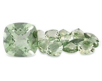 14mm Natural genuine GREEN AMETHYST square cushion CHECKER board faceted gemstone...