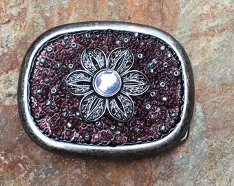 beaded belt buckle plum purple belt buckle women's belt buckle flower cowgirl accessories Bling Sparkly Bohemian Belt Buckle boho gypsy chic