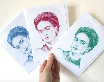 SPECIAL OFFER - Pack of 3 Frida Kahlo Small Art Prints - Greetings Cards - Mexican Female Artist - Pink, Green & Blue!