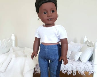 18 inch doll two tone jeans
