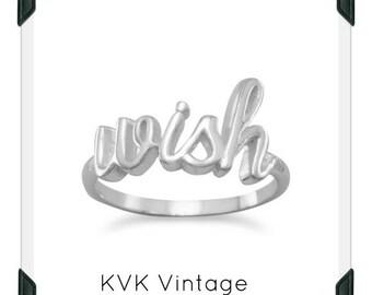 "Polished Script ""WISH"" Ring"