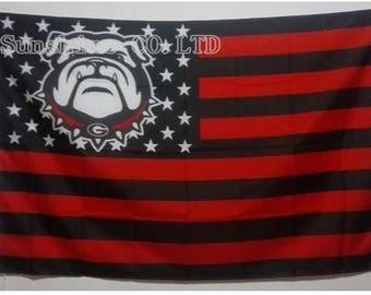 University of Georgia Dawg Nation Flag Stripes Stars Bulldog Mascot UGA Hairy Dawg G Red and Black UGA