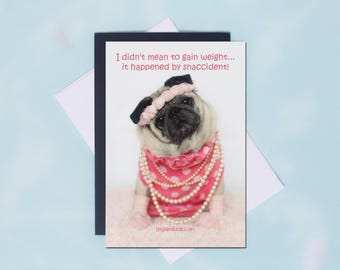 Pug Magnet -  Snaccident - 4x6  Pug magnet - by Pugs and Kisses
