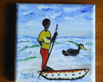 Miniature Painting--Fisherman from Ghana, West Africa