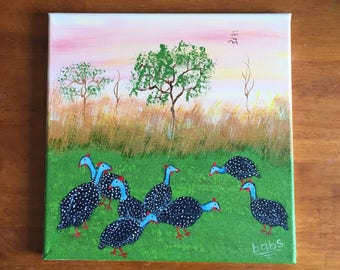 Painting with Guinea Fowl at Sunset, African Landscape
