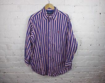 Polo Ralph Lauren Button up long sleeve shirt blue stripe