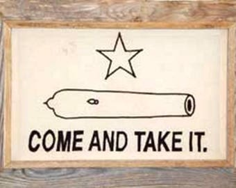 """Texas Gonzales Framed Barnwood Flag 20""""x28"""" (Come and Take It)"""