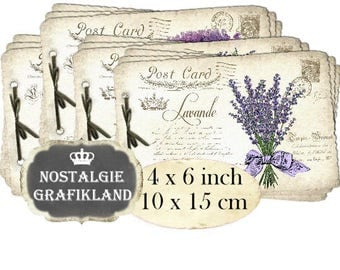 Postcard Lavender French Carte Postale Flowers Provence Shabby Chic Poste printable 6 x 4 inch Instant Download digital collage sheet D280