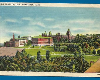 Linen Postcard - Buildings and Campus of Holy Cross College in Worcester Massachusetts  (2672)