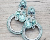 ON SALE Light blue and gray soutache earrings with beautiful swarovski crystals.