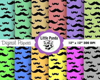 60% OFF SALE Mustache Digital Paper Pack, Commercial Use, Personal Use, 12 jpg files 12 x 12 - Instant Download - D11