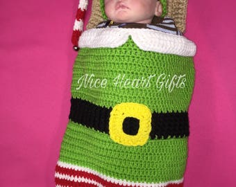 Ready to Ship Elf Baby Cocoon Sleep Sack with Elf Hat
