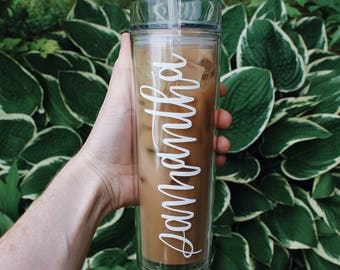 Custom Hand Lettered Name Tumbler, 16 oz. Skinny Acrylic Tumbler, Personalized Calligraphy Name