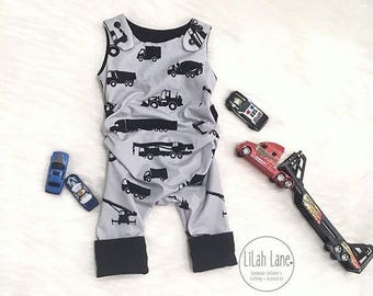 Grow With Me Romper | Grow Romper | Construction Vehicle One Piece | Handmade