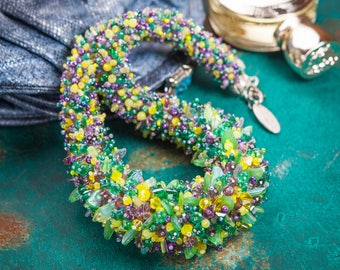 Beaded necklace rope Green & Purple