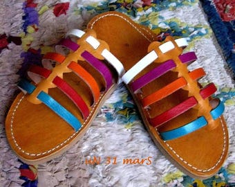 Multicolored leather strips for this summer mules size 41