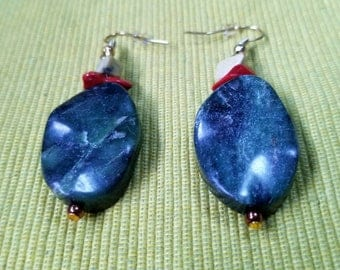Franconia: stone bead earrings featuring red & moss jasper, green marble