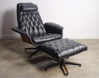 Mid Century Modern George Mulhauser Plycraft Mr. Chair Bentwood Lounge Chair and Ottoman