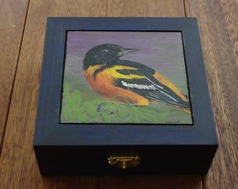 Tea box - hand painted, Baltimore Oriole, bird