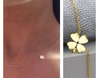 4weeksProductionTime 14k solid gold four leaf clover necklace shamrock necklace lucky charm necklace