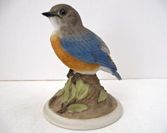 Vintage Boehm Porcelain Fledgling Bluebird, Mold 442, Edward Marshal Boehm Bluebird Dated 1958, Mint